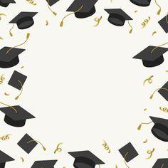 graduation vector graduation wallpaper Graduation background with mortar boards vector Free Vector - -