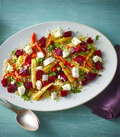 Bulgur wheat salad with beetroot, honey and goats' cheese - a great light lunch or side dish