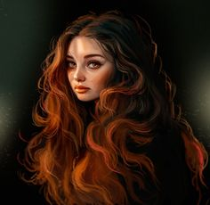 ArtStation - Rotschopf, Abigail Hawk - Schöne Zeichnungen - Art World L'art Du Portrait, Digital Portrait, Portraits, Dark Portrait, Digital Art Girl, Redhead Girl, Anime Art Girl, Cartoon Art, Cute Drawings