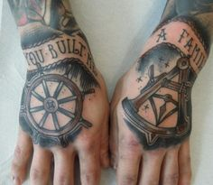 ships helm & mathematical compass matching hand tattoos tattoo - you built me a family