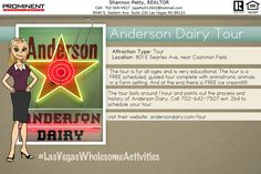 """The Anderson Dairy Tour as unique family experience that looks at the history of Las Vegas and how Anderson Dairy was apart of it.  This special """"Barnyard Buddies"""" Tour has been created, complete with animatronic animals, farm scenery and colorful lighting to help tell the story of Anderson Dairy & Las Vegas. See, first hand, how we process the dairy products you enjoy at home!"""