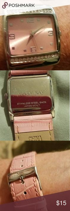 Dust collection item Pink Mary Kay Watch Feels like leather, has faux diamonds imprints around face if watch, worked until battery died,so it needs battery. Slight wear markings but ,adorable,especially if your a dealer, in THE BEZT MAKE UP EVER Mary Kay Jewelry