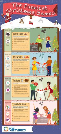 Infographic about most funniest Christmas games - Face the Cookie, Roll with It, This Blows, Junk in the Trunk.