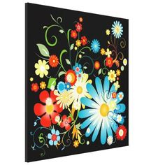 Floral explosion of color stretched canvas print by giftsbonanza $137.75