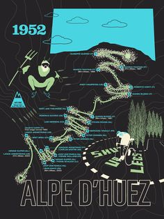 The Alpe d'Huez is famed, not because of its size or natural majesty, but because it has been a key battleground for so many Tour winners including Bicycle Store, Bicycle Art, Online Bike Shop, Alpe D Huez, Bike Poster, Touring Bike, Cycling Art, My Buddy, Lugano
