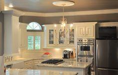 Cote de Texas - kitchens - Benjamin Moore - Stardust - u-shaped kitchen, kitchen island, kitchen peninsula, farm sink, farmhouse sink, bridg...