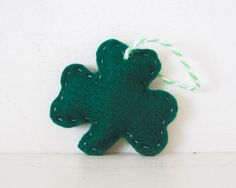 SHAMROCK - Hunter Green Shamrock ORNAMENT - Shamrock Ornament - Irish Baby Shower Favors - Irish Wedding Favor - Irish Party Favor Decoratio