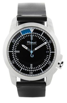 Miansai 'M1 Noir Classic' Automatic Leather Strap Watch, 39mm (Online Only) available at #Nordstrom