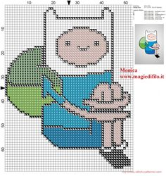 Finn the human Adventure Time cross stitch pattern (click to view)