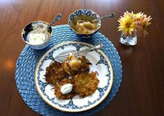 """Makes approximately 15 latkes, depending on size  1 ½ lbs Yukon Gold potatoes  ¼ grated, small onion (Approximately 2tbs)  2 eggs, well beaten  1 tsp salt  Freshly ground pepper to taste  ½ cup high-temperature vegetable oil, such as safflower or sunflower     Grate potatoes with a Julienne grater, if available. If not, use a coarse grater, hold potatoes lengthwise to create """"shoe-strings"""" rather than short shreds. The goal is to have elongated pieces. It is easiest in a Cuisinart, if…"""