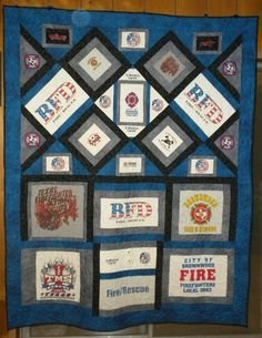Tshirt/Uniform shirts - Quilt made for my favorite fireman