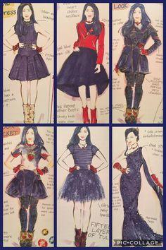 Evie's Descendants 2 evolution (outfits designed by Evie) made by Meg The Descendants, Descendants Characters, Descendants Costumes, Cameron Boyce, Dove Cameron, Evie Costume, Disney Channel Movies, Decendants, Disney Villains