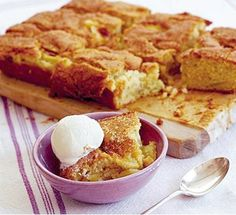 Dorset apple traybake - Simple-to-whip-up apple cake that can be cut into bars or squares for a tea time treat Tray Bake Recipes, Apple Cake Recipes, Baking Recipes, Dessert Recipes, Apple Cakes, Cooking Apple Recipes, Bramley Apple Recipes, Cookie Recipes, Bbc Good Food Recipes