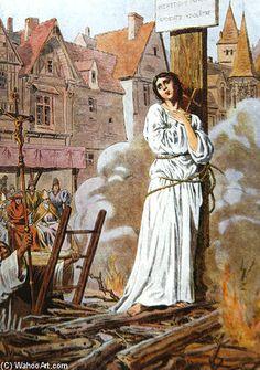 Jeanne d Arc sur le bûcher   Frederic Theodore Lix (1830-1897, France)