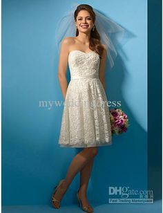 Wholesale Cheap Ivory Sweetheart A Line Short Knee Length Lace Beach Wedding Dresses 1324, Free shipping, $116.48-128.8/Piece | DHgate