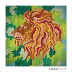 Lion King on wooden board with no lines. #Colorfy #Wood #Lion #Animals #Art #Therapeutic
