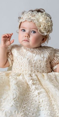 Baby girl christening gown (includes christening set and matching dress) Christening Gowns Girls, Baptism Dress, Baby Christening, Baby Girls, Baby Girl Dresses, Flower Girl Dresses, Dress Girl, Baby Blessing Dress, Baby Girl Hair Accessories