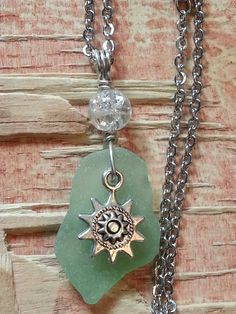Sun Star Sea Glass Necklace Astrology Spring and Summer Fashion  Minty Green Charm