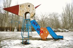 """LiveJournal community """"Dedicated to Maniac Psycho Sculptors.""""It's a hub for dumping photos of children's playgrounds that are more than a little bit… off — perilous swings, rusty slides, cavernous ditches, and, more importantly, the creepiest public sculptures you've ever seen."""