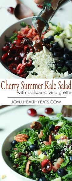 A Summer Kale Salad Recipe that will blow your mind! Filled with fresh cherries and blueberries for some sweet then countered with salty bacon and feta. Perfect for a backyard bbq party this summer, its even Red White and Blue!   joyfulhealthyeats.com #recipe