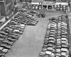 Date: August 1943 Location: Juniper and Locust, Philadelphia, Pennsylvania Source: PhillyHistory via The Old Motor What do you see here? Vintage Pictures, Old Pictures, 50s Cars, Car Dealers, Train Pictures, What Do You See, Time Capsule, Car Photos, Muscle Cars