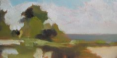"Judith Tummino, Morning by the Chesapeake, Oil on canvas, 6"" x 12"""