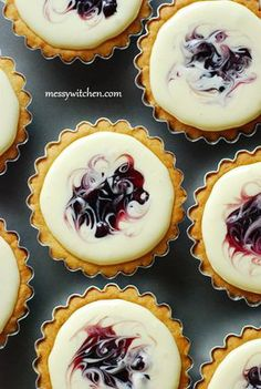 Blueberry Cheese Tarts: what an amazing presentation theses would make with some fresh berries and an uncluttered plate. Little to no sauce I think. Let the cheese flavor shine through.