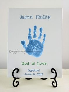 "Boy Baptism - ""God Is Love."" ($54.99)    Handprint and Footprint Pottery Keepsake."
