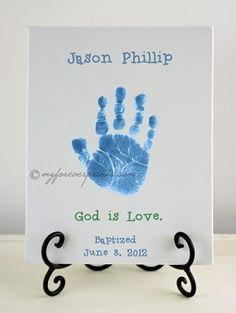 "Boy Baptism - ""God Is Love."" ($54.99)    Handprint and Footprint Pottery Keepsake."