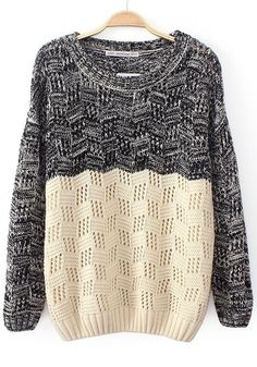 Multicolor Patchwork Hollow-out Long Sleeve Sweater