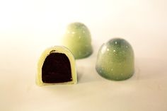 Organic white chocolate with blackcurrant and lime leaf ganache by Arctic Choc, Finland - www.arcticchoc.com