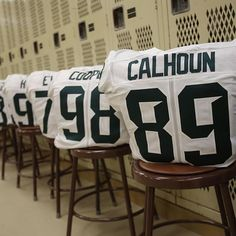 The jerseys are waiting for the Spartans in their locker room at Waldo Stadium. #ReachHigher