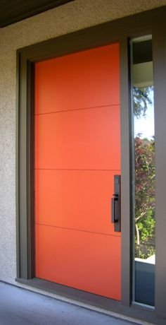 Orange Valdi Door in aluminium and laminated glass. Available in all colours and\u2026 & Jason R - Orange Burbank | Doors Mid century and Mid-century modern
