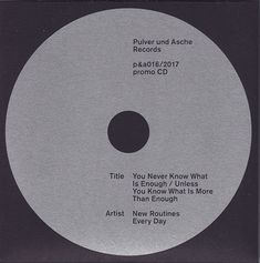 Neural [music review] New Routines Every Day – You Never Know What Is Enough / Unless You Know What Is More Than Enough CD – Pulver & Asche Records http://neural.it/2018/03/new-routines-every-day-you-never-know-what-is-enough-unless-you-know-what-is-more-than-enough/