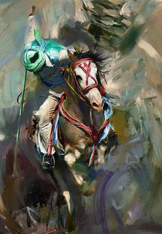 Oil Painting by Mawra Tahreem Available for sale: http://fineartamerica.com/featured/polo-184-3-mawra-tahreem.html?newartwork=true #polo #TentPegging #Sports #Jockey