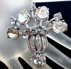 Vintage Eisenberg Sterling Silver Brooch Signed Clear Rhinestone Flower 35 Grams #Eisenberg