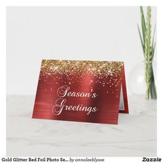 Gold Glitter Red Foil Photo Season's Greetings Holiday Card