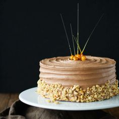This delicious Nutella Hazelnut Cake is adorned with stunning candied hazelnuts.