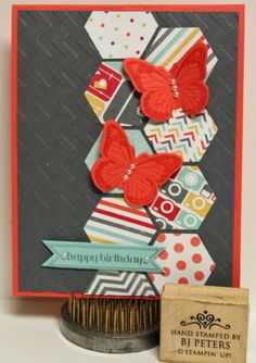 Love the new Hexagon Punch!   You can get it by itself or in a bundle with a coordinating stamp set (Six Sided Sampler) for 15% off. Here I combined it with the I Am Me DSP & Backyard Basics butterfly for a bright birthday card.  www.stampinbj.com