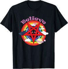 Believe funny colourful pentagram rainbow and satan T-shirt: Amazon.de: Bekleidung Amazon T Shirt, Sarcastic Person, T Shirts Uk, Shirt Price, Satan, Funny Tshirts, Pop Art, Believe, Rainbow