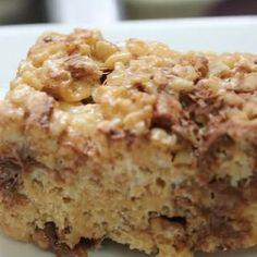 Fluffernutter Rice Krispie Treats (use organic non-gmo verified rice crispy cereal and non-gmo marshmallows)