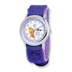 Disney Kids Tinker Bell Purple Velcro Band Time Teacher Watch Mineral crystal 1 year limited warranty 3 atm water resistance / 99 Feet M) Learn To Tell Time, Bell Design, Purple Fabric, Whimsical Fashion, Tinker Bell, Watches Online, Stainless Steel Case, Bracelet Watch, Jewelry Watches