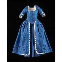 Gown, blue damask, sawtooth silk trim  1780-1795; textile 1740-1750  Origin: Europe, France or England