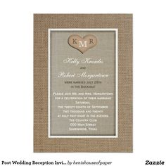 "Post Wedding Reception Invitation -- Burlap 5"" X 7"" Invitation Card"