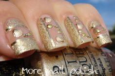 More Nail Polish: Gold nails featuring shell studs