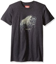 Hanes Men's Graphic Tee-Rugged Outdoor Collection, Bison Roam Slate Heather, Large