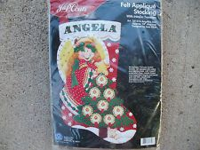 ANGEL/TREE FELT APPLIQUE STOCKING FELT EMBROIDERY KIT Felt Embroidery, Felt Applique, Felt Stocking Kit, Felt Christmas Stockings, Felt Ornaments, Angel, Holiday Decor, Needle Felted Ornaments, Wool Applique