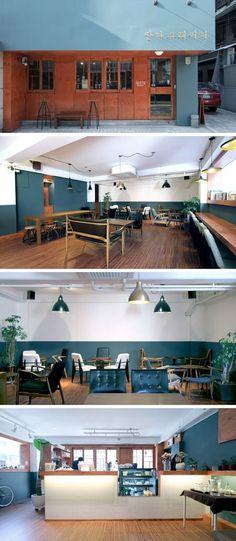 [No.64 만다그레] 사당 레트로 컨셉 커피숍 인테리어 25평, 외부 파사드, 예쁜 간판 디자인