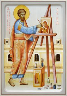 Luke icon [painting the Theotokos] by Dragan Jovanovic Byzantine Icons, Byzantine Art, Christian Images, Christian Art, Religious Icons, Religious Art, Luke The Evangelist, Church Icon, Looney Tunes Cartoons