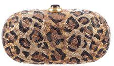 yy Judith Leiber Crystal Onyx Leopard Print Clutch Hand Bag Minaudiere Vintage #JudithLeiberLieberdesignercouture #ClutchEveningBagShoulder